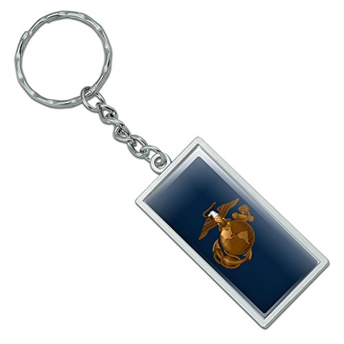 Marines USMC Eagle Globe Anker auf Blau Offizielles Lizenzprodukt Rechteck verchromtem Metall Schlüsselanhänger (Globe Usmc)