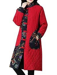 1561cfe4d35f FNKDOR Manteau Femme d hiver Chaud Veste à Manches Longues en Lin de Coton  Blouson