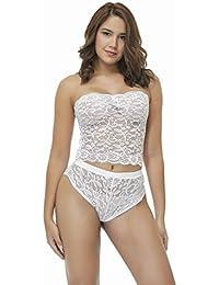 JOY Lencería sexy seductora transparente de encaje femenino,Blanco,XL
