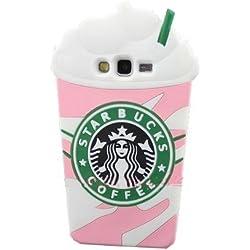 Coque en silicone pour Samsung Galaxy en forme d'un verre de café Starbucks rose éclatant avec crème glacée Grand Prime G530