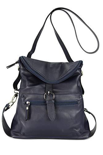 Belli ital. Echt Leder Rucksack Backpack London Handtasche Umhängetasche Rucksacktasche dunkelblau - 28x26x10 cm (B x H x T)