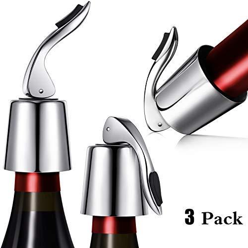 Zhanmai 3 Packungen Weinstopper aus Edelstahl Flaschenverschlüsse Vakuum Flaschenverschluss Verschluss mit Innengummi