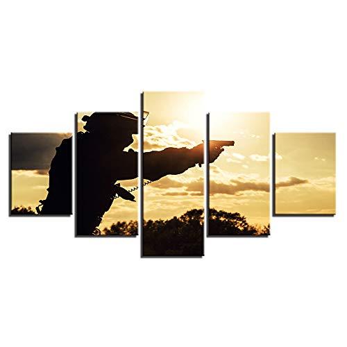Yangman 5 pezzo tela parete arte militare famiglia tela silhouette di soldati americani pittura poster moderni e stampe immagini per soggiorno home decor,b,10x15*2+10x20*2+10x25*1
