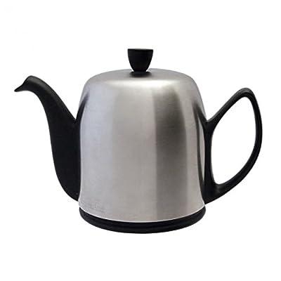 Guy Degrenne 211992 Théière avec 4 Tasses Acier Inoxydable/Porcelaine Noir 22,5 x 22,5 x 20,3 cm