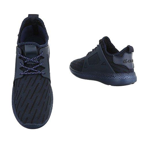 Slipper Damenschuhe Herrenschuhe Leichte Unisex Sneakers Ital-Design Halbschuhe Dunkelblau