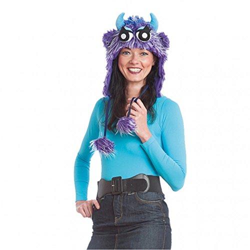 Orlob Handelsgesellschaft Monstermütze lila Fellmütze Monster Kostüm Spaßhut -