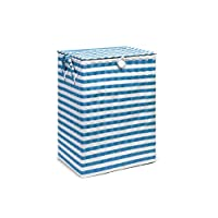 Arpan Washing Baskets for Laundry Plastic bin Hamper Storage Basket Blue - White Nautical Design 44 litres Capacity Light Weight