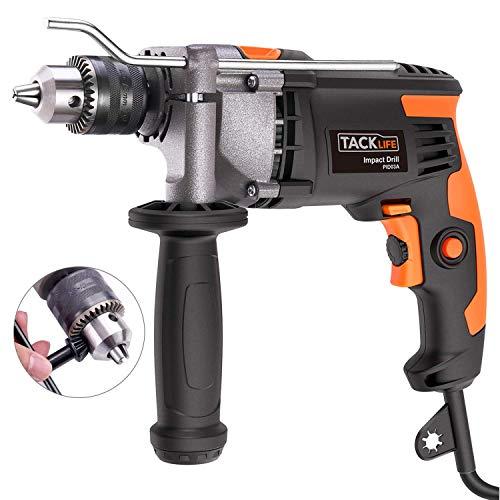 Bohrmaschine, Tacklife 850W 3000U Bohrhammer, 360°verstellbarer Zusatzhandgriff, Aluminiumgehäuse, Hammer und Bohrer 2 in 1, 13mm Zahnkranzbohrfutter, Tiefenanschlag, eignet für Holzbearbeitung PID03A