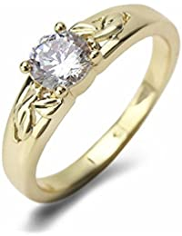Aashya Mayro Alluring Sparkling 5MM AAA+ Quality CZ Diamond With 18k Gold Plated Valentine Ring For Women Girls