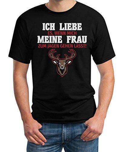 Geschenke für Jäger Herren - Ich Liebe es wenn meine Frau Jagen lässt T-Shirt Schwarz