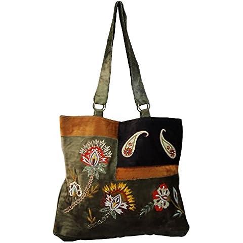 indio decorativa bolsa de mano con cuentas de terciopelo verde boho material de gran bolso de compras accesorios para la mujer gitana tradicional bolsa