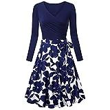 HOOUDO Dress,Women Casual Spring Dresses,Daily Long Sleeve V- Neck Floral Print Dresses Vintage Elegant Flared Casual Dresses for Women(X-Large,Blue)