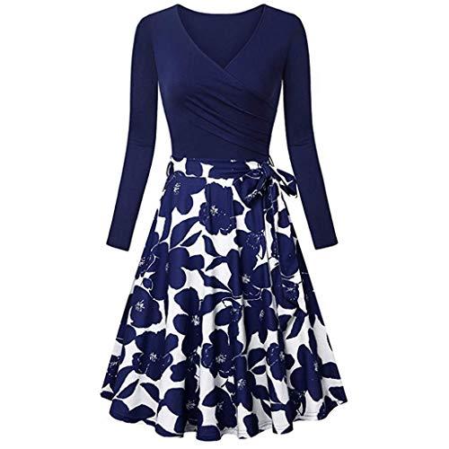 Xmiral Damen Kleid Langarm V-Ausschnitt Vintage Elegant Ausgestellte Kleider Mit Gürtel(S,Blau 4)