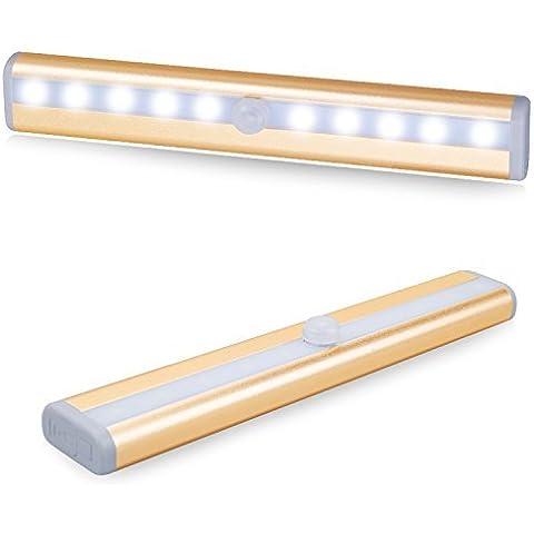 Luz Nocturna, Aerb Wireless Sensor automático Barra de luz LED con 10 LEDs para vestuario, banda magnética Bar Escaleras [Clase de eficiencia energética A ++]