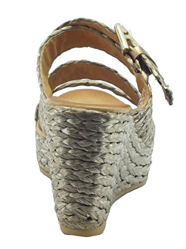Sandali scalsati con zeppa alta CafèNoir in raffia intrecciata taupe Taupe