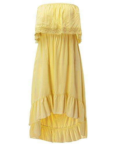 ZANZEA Damen Cocktail Kleid Gelb