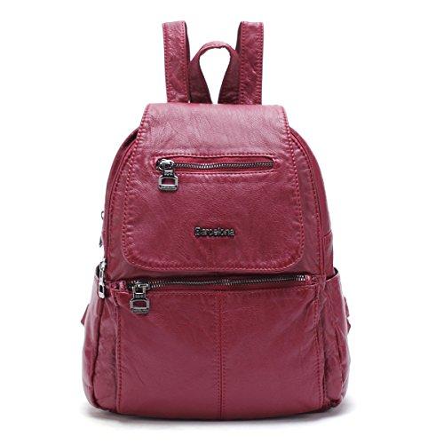 21KBARCELONA Cuoio lavato di alta qualità zaino borsa XS160433 (Rosso)