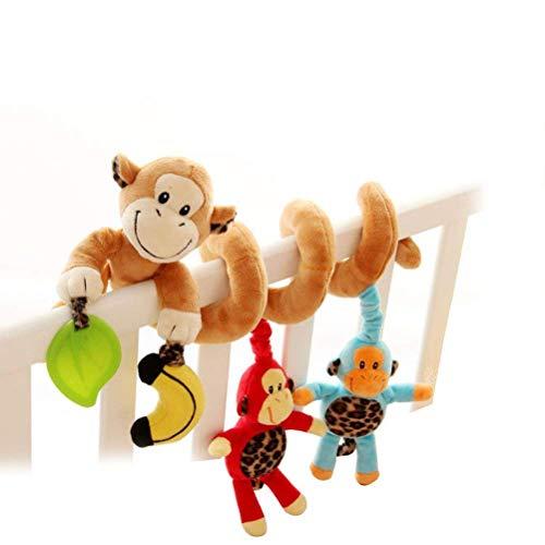 Freeas Spirale Bett Kinderwagen Spielzeug, Kleinkind Baby Aktivität pädagogische Plüschtier Bett hängen Spielzeug (Affe) - Baby-affe-autositz Und Kinderwagen