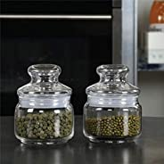 Ocean Glass Storage container Pop Jar with Glass Lid, Pack of 2, Clear, 325 ml, B0251102