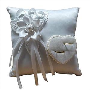 Akeny Weiß Quadratisch Hochzeits Ring Kissen 3D Blumen Herzförmig Kissen für Hochzeit