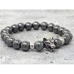 Herren Armband Lone Wolf Muster Hämatit Perlen