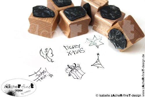 Stempel - Weihnachtsstempel SET mit 6 kleinen Weihnachtsmotiven, um Karten und Geschenke zu verzieren - Motivstempel/Bildstempel von zAcheR-fineT