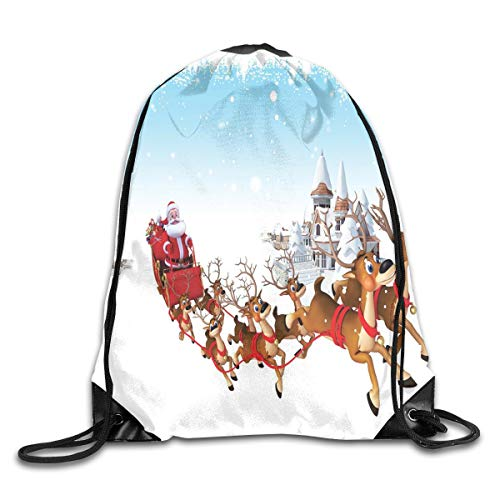 Santa Duvet Cover Set Twin Size, Christmas Ride On A Sleigh Cartoon Deer With Jingle Bells Winter Time,Caramel Red Pale Blue_2Drawstring Shoulder Backpack -