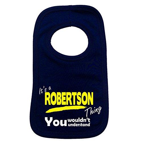 '123T Mugs Baby It 's a Robertson, was Sie nicht verstehen Baby Lätzchen Gr. One Size, marineblau