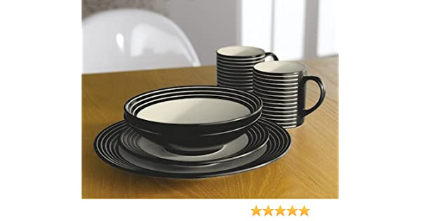 Denby Intro Stripes 16 Piece Tableware Set - Black: Amazon.co.uk ...