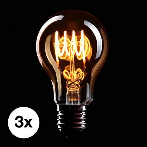 CROWN LED 3 x Edison Glühbirne E27 Fassung, 4W, Warmweiß, 230V, EL02, Antike Filament Beleuchtung im Retro Vintage Look -