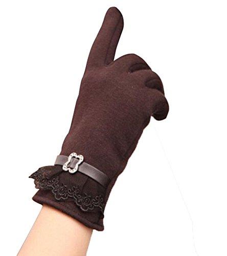 Wealsex Gant Polaire Ecran Tactile Dentelle Décoratif Elastique Pour Automne Hiver Chaud Douce Mode Femme Brun