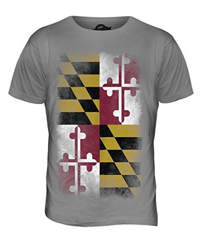 CandyMix Bundesstaat Maryland Verblichen Flagge Herren T Shirt Hellgrau