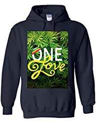 One Love Weed Rasta High Novelty White Femme Homme Men Women Unisex Sweat à Capuche Hooded Sweatshirt Hoodie