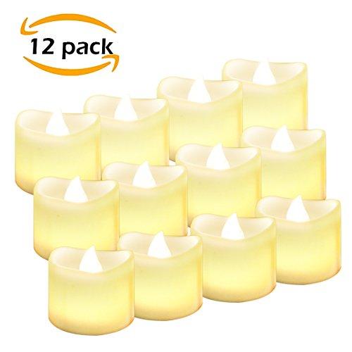 12 LED Kerzen, E2Buy® LED Flammenlose Tealights, Flackern Kerze Teelichter, elektrische Kerze Lichter Batterie Weihnachtskerzen Dekoration für Weihnachten, Weihnachtsbaum, Ostern, Hochzeit, Party