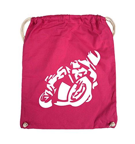 Comedy Bags - MOTORRAD Motorradfahrer GROß - Turnbeutel - 37x46cm - Farbe: Schwarz / Silber Pink / Weiss