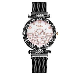 Damen Uhren KiyomiQvQ Mode Elegant Watch Legierung Kranz von Strass Zifferblatt Armbanduhr Warmen Goldtönen Damenuhr Mode Elegant Edelstahl Mesh Armband Markenuhren Frauen Quarzuhr