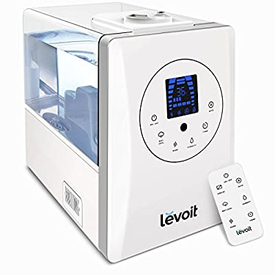 Levoit Humidifiers Ultrasonic Warm & Cool Mist 6L for 70?, Essential Oil Diffuser, Dual 360° Mist Nozzles with Remote, Auto Off, Timer, Fresh Air for bedroom, baby room, office, sleep, plants, LV600