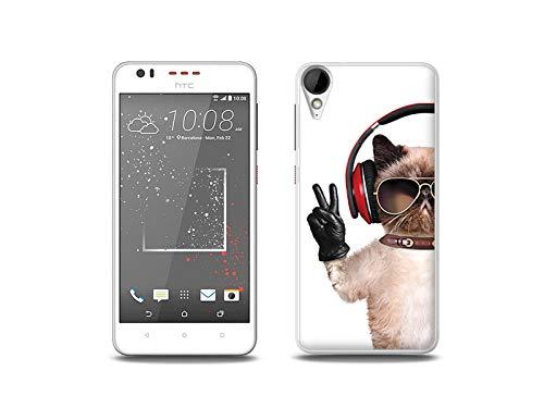 etuo Handyhülle für HTC Desire 825 - Hülle, Silikon, Gummi Schutzhülle - Lustige Katze