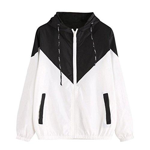 Damen Hoodies,KIMODO 2018 Neu Mode Frauen Langarm Patchwork Dünne Skin Suits Mit Kapuze Reißverschluss Taschen Sport Mantel (Schwarz, S)