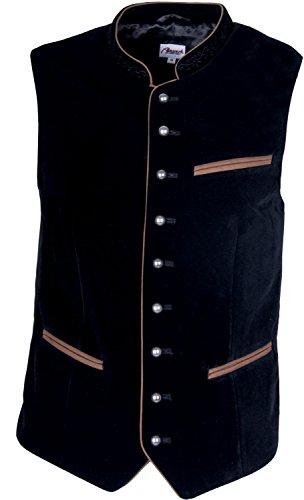 Almwerk Herren Trachten SAMT Weste Gilet in vielen Farben, Größe:60;Farbe:schwarz