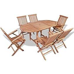 vidaXL Teck Massif Ensemble à Dîner de Jardin 7 pcs avec Table Extensible