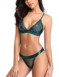 cf29822df06 MarysGift Lace Embroidery Bra Set Comfortable Bra French Knickers Lingerie Sets  Underwear for Women Plus Size