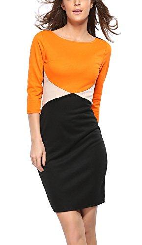 Fortuning's JDS Aktive stilvolle Kontrastfarbe Bodycon Halbe Ärmel Rundhals Reich Taille Minikleid für Frau, S-3XL Europa Größe, (Definition Kostüm Silhouette)