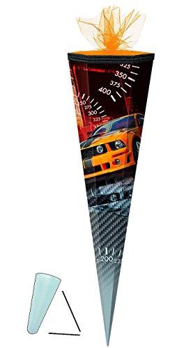 Unbekannt Schultüte - Auto Sportwagen - orange schwarz - 70 cm - rund - Tüllabschluß - mit / ohne Kunststoff Spitze - Zuckertüte - für Jungen - Autos Rennwagen Streifen Coupé Fall