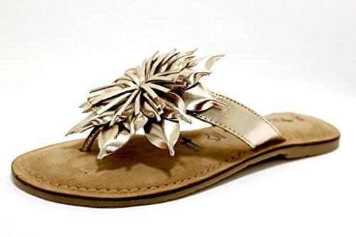 Tamaris 27127-20 Damen Modische Pantolette Aus Glattleder mit Blütenapplikation, Groesse 42, Gold