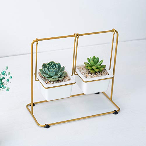 Flower Pot Iron Frame Combination Set rechteckige Blumentöpfe Simple Creative Geometry Deformazione Ceramica Pianta succulenta 24X12X22cm Lavabo Quadrato + Supporto Per Fiori In Oro