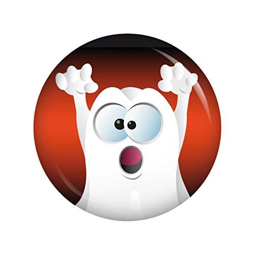 Kiwikatze® Fest - Grimassen-Geist Huh! 37mm Button Ansteckbutton für Fasching Karneval Halloween Party und Feiern -