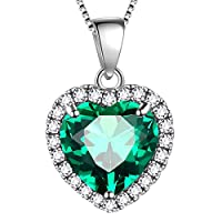 Aurora Tears 925 Sterling Sliver Love Heart Necklace May Birthstone Heart-Shaped Pendant Green Emerald Jewellery Dating Gifts for Women DP0003G