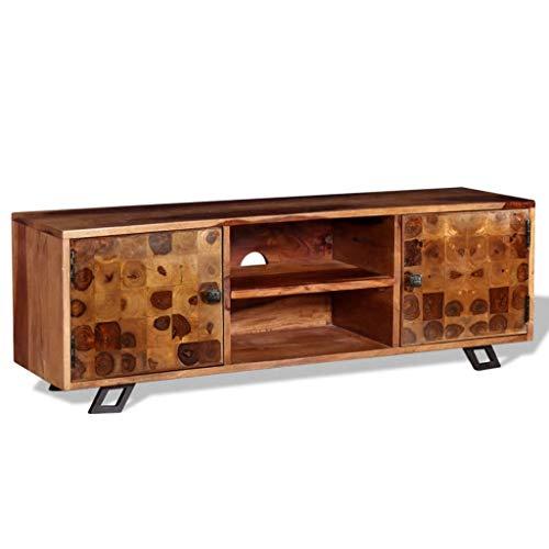 Tidyard Meuble TV   Mobilier de Salon   Armoire Basse avec 2 Tiroirs et 2 Compartiments en Bois Sheesham Massif 120 x 30 x 40 cm