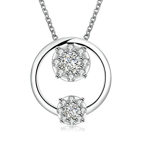 Anyeda Halskette Paare,Versilbert Hypoallergen Runde Form Weiß & Silber Zirkonia Schmuck Geschenk Größe 45X2.2X2.1Cm